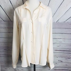 CASUAL CORNER | white long sleeve shirt size 8